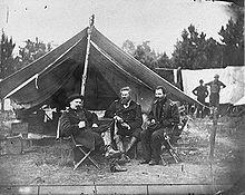 Colonels Albert V. Colburn, Delos B. Sackett and General John Sedgwick in Harrison's Landing, Virginia during the Peninsula Campaign, 1862.