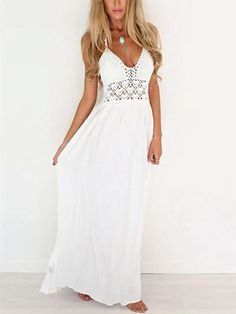 Lace High Rise White Lace up Dress