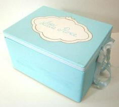 Wooden baptism/ toys box themed Turquoise Crown at www.happyrooms.gr