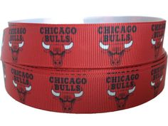 "Chicago Bulls 1.5/"" grosgrain ribbon...5 yards listing"