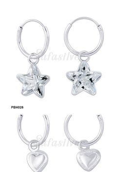 Safasilver - 925 Silver Jewelry - Hoop Earrings Hoop earring are so much attractive and stylish design. Most of womens like the Hoop earrings very much. Star shape cubic zircon stones embedded and another one plain heart shape consecutively with shining hoops are very much desirable. Check it out - www.safasilver.com