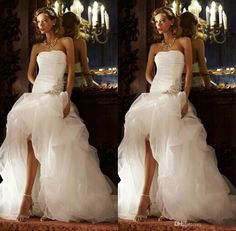 Vintage Style High Low Wedding Dresses Bodice A Line White Tulle Bridal Dress Strapless Beaded Ruffles Custom Wedding Gowns Garden/Church Simple Bridal Dresses Wedding Bridal Dresses From Crystaldress2013, $124.73| Dhgate.Com