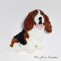MADE to ORDER: One bead-embroidered Basset Hound dog pin/ pendant. This pin was created by stitching tiny glass seed beads to felt 2-3 at a time.