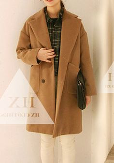 Fashion-Womens-Wool-Blend-Straight-Lapel-Button-Up-Long-Trench-Coat-Jacket