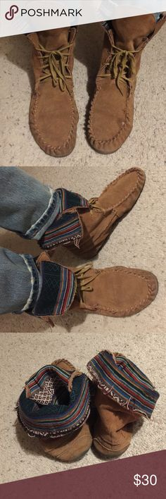 Steve Madden moccasin booties Lace up, super pliable leather moccasin boots. Can wear two ways as pictured. Fun tribal print cloth on the inside of the ankle. Small flaws also pictured. Well worn but still have life to live! Steve Madden Shoes Moccasins