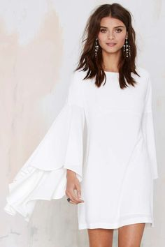 Nasty Gal Hells Bells Crepe Dress - Ivory - Dresses | Going Out | LWD