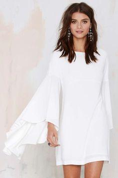 Nasty Gal Hells Bells Crepe Dress - Ivory | Shop Clothes at Nasty Gal!