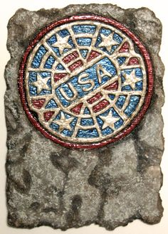 """Grate American"" by Bobbi Mastrangelo, embossed on 6"" x 4"" hand made paper, donated to Twitter Art 2015 in Norway"