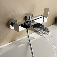 84.00$  Buy here - http://aliy7y.worldwells.pw/go.php?t=32421055618 - Free shipping  Bathroom faucet Waterfall basin faucet Into the wall washbasin water tap Double handle basin faucet LT-306 84.00$