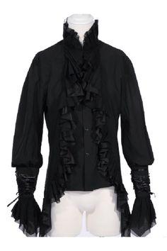 RQBL Ghost Shirt, Gothic Ruffle Dress or Pirate Shirt Black