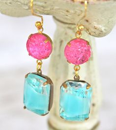 Vintage Pale Aqua Blue Rhinestone Givre Glass Rectangle Pink Textured Glass Wedding Bridesmaids Dangle Earrings. $28.00, via Etsy.
