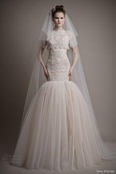 ersa atelier bridal 2015 pretty wedding dress short sleeve top elizabeth