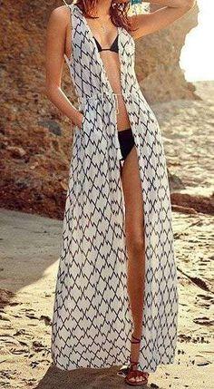 Fashionable Printed Long Edition Sleeveless Kimono Blouse For Women Boho Tops, Kimono Blouse, Beach Kimono, Make Your Own Clothes, Fashion Prints, Fashion Design, Beachwear For Women, Sammy Dress, Womens Fashion Online