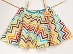 SALE - Chevron Love  - Twirly Circle Skirt   - Chevron, Zig Zag Stripes in Blue, Brown, Green, Orange and Yellow  - by bitty bambu. $25.00, via Etsy.