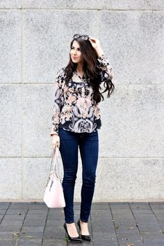 Pink and Neutral Colors.  Pink and Neutral Colors for Winter.. Paisley Print Blouse. Ruffle Blouse. Pink Shell Handbag. Patent Leather Pointed Toe Pumps. Express Jeans. Street Style. Street Wear. Professional Style. Work Wear.... - Street Style