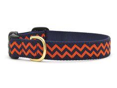 Chevron Dog Collar - Navy Blue and Orange UVA Spirit for Piper!!