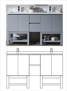 Morden Gray bathroom vanity with drawing
