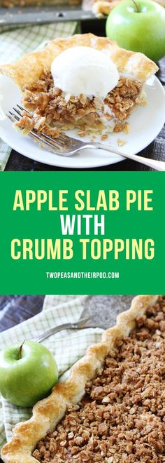Apple Slab Pie with Crumb Topping-this easy apple pie is made in a jelly roll pan and is perfect for feeding a crowd. It is the perfect pie for the holidays.