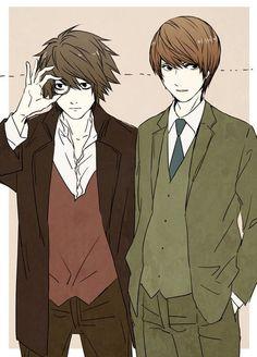 Death Note - Light Yagami x L Lawliet - LawLight Death Note Anime, Death Note デスノート, Death Note Fanart, Death Note Light, L X Light, Detective, Fanart Manga, Nate River, Light Yagami