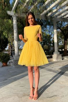 Prom Dresses Elegant, Sexy Backless Long Sleeve Round Neck Dots Printed Princess Dress, Mermaid prom dresses, two piece prom gowns, sequin prom dresses & you name it - our 2020 prom collection has everything you need! Yellow Homecoming Dresses, Hoco Dresses, Evening Dresses, Dresses For Work, Sexy Dresses, Summer Dresses, Wedding Dresses, Fall Dresses, Yellow Dress Wedding