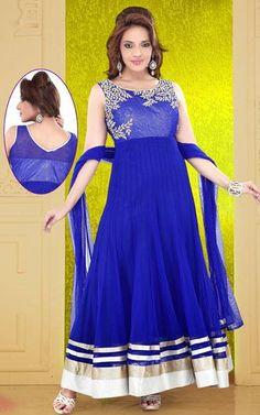 USD 165.5 Blue Stone Work Net Ankle Length Anarkali Suit 37959