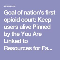 Goal of nation's first opioid court: Keep users alive Pinned by the You Are Linked to Resources for Families of People with Substance Use  Disorder cell phone / tablet app May 23, 2017;  Android- https://play.google.com/store/apps/details?id=com.thousandcodes.urlinked.lite   iPhone -  https://itunes.apple.com/us/app/you-are-linked-to-resources/id743245884?mt=8com