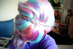 Multicolored pastel braided hair