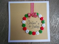 This holiday season hand out these DIY Christmas Cards to your loved ones and tell them how much you care. These Handmade Christmas cards are easy & cheap. Button Christmas Cards, Christmas Buttons, Christmas Card Crafts, Homemade Christmas Cards, Christmas Cards To Make, Christmas Greetings, Handmade Christmas, Homemade Cards, Holiday Crafts