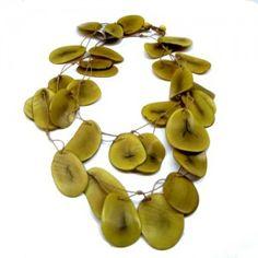 Colar semente de marfim (jarina) fatiada –  amarela