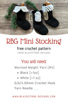 RBG Mini Stocking free crochet pattern from Blackstone Designs #Crochet #crochetpattern #christmasstocking #crochetstocking #christmascrochet #RBG #ruthbaderginsburg #RBGcrafts