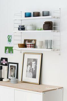 taulu ja tapetti, string pocket Decor, Shelves, Interior, Home, Deco, Floating Shelves, Floating, Scandinavian, White