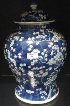 Sale D140116 Lot 56  A large blue and white lidded jar, 36cm high  - Cheffins