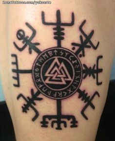 Valknut was one of the most sacred symbols in Norse mythology and Viking belief. Valknut symbol was known as the Heart of the Slain. Valknut was actually the symbol of Odin the Allfather who was also known as the nonstop seeker af Simbolos Tattoo, Rune Tattoo, Norse Tattoo, Celtic Tattoos, Body Art Tattoos, New Tattoos, Tribal Tattoos, Tattoos For Guys, Wiccan Tattoos