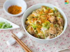 30-minute recipe for oyakodon (chicken on rice) where chicken, egg and onions are simmered in a quick dashi sauce and served over steamed rice.