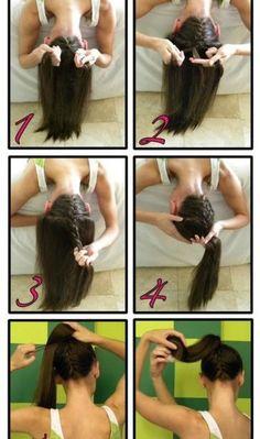 Braid under your ponytail.