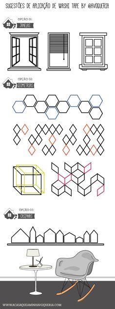 Idéias bacanas com Washi Tape   08 desenhos exclusivos para você aplicar na sua casa.
