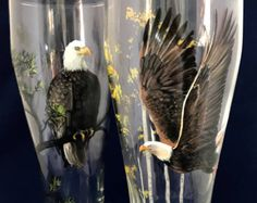 Bald Eagle Hand Painted Pilsner Beer Glass American Bird Northern Woods Pine White Birch Tree Collectible Rustic Woodsy Woodland Barware