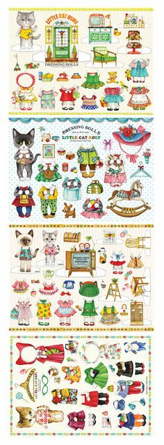 Uncle cat design dolls paper set