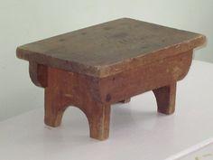rustic wood primitives | Vintage Rustic Primitive Wood Foot Stool Bench by whitefarmhouse