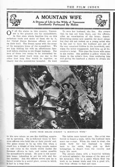 "Film Index, November 5, 1910 review of the Melies film ""A MOUNTAIN WIFE"""