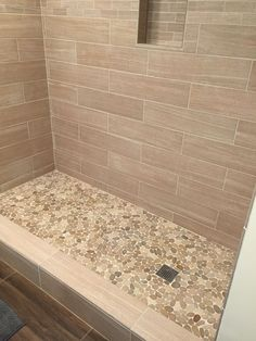 Sliced Java Tan Pebble Tile Shower Floor 2