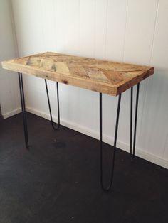 Salvaged Wood Desk, Chevron Pattern Desk, Hairpin Leg Desk, Handmade