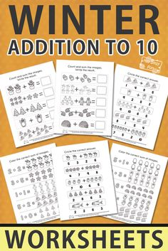 Free Printable Winter Addition Worksheets to 10 for kids