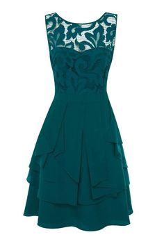 Morpheus Boutique  - Teal Lace Floral Designer Sleeveless Pleated Dress.