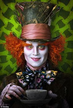 Alice in Wonderland directed by Tim Burton (2010).   Johnny Depp as the Mad Hatter