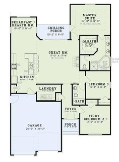 The appealing 1-story floor plan has 1516 square feet of living space and includes 3 bedrooms and 2 full bathrooms. #houseplan #bathhroom Narrow Lot House Plans, Small Floor Plans, House Plans One Story, One Story Homes, Best House Plans, Modern House Plans, 3 Bedroom Home Floor Plans, Three Bedroom House Plan, Home Design Floor Plans