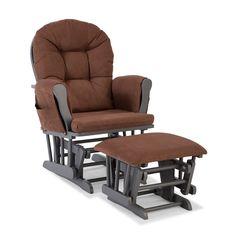 Stork Craft Hoop Custom Glider Chair and Ottoman Set, Brown