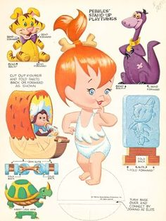 are based on the Flintstone's cartoon characters. Pebbles is Fred and Wilma Flintstone's daughter, while Bamm Bamm is Barney and Betty Rubles' son. Imprimibles Toy Story Gratis, Pebbles Flintstone, Paper Art, Paper Crafts, Foam Crafts, Paper Dolls Printable, Vintage Paper Dolls, Antique Dolls, Paper Toys