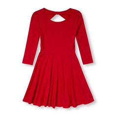 Girls Elbow Sleeve Bow-Back Solid Skater Dress