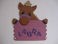 Türschild Pony Pferd mit Wunschname Name Schild von conchila auf DaWanda.com
